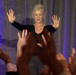 Karen Duffy conducting a group wellness session